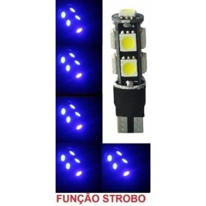 Lampada T10 Cambus Flash Strobo 9 Led W5w Azul 12v