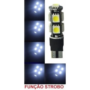Lampada T10 Cambus Flash Strobo 9 Led W5w Branco 12v