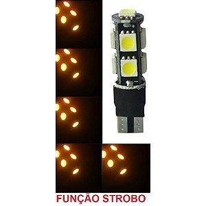 Lampada T10 Cambus Flash Strobo 9 Led W5w Amarelo 12v