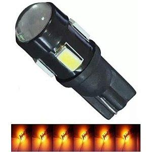 Lampada T10 Cree 5 Led W5w Amarelo 12v