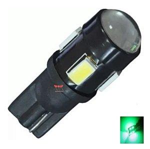 LAMPADA T10 CREE 5 LED W5W VERDE 12V