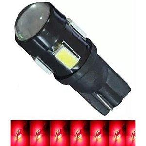 Lampada T10 Cree 5 Led W5w Vermelho 12v