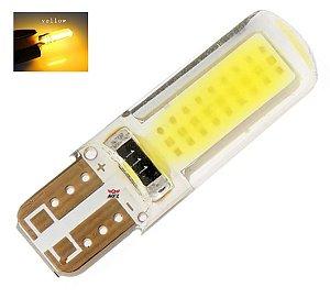 LAMPADA T10 SILICONADA COB LED W5W AMARELO 12V