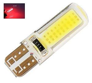 LAMPADA T10 SILICONADA COB LED W5W VERMELHO 12V