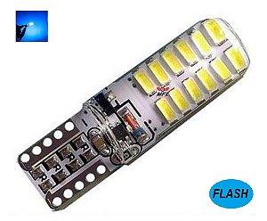 LAMPADA T10 STROBO 24 LED SILICONADA W5W AZUL CRISTAL 12V