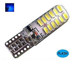 LAMPADA T10 STROBO 24 LED SILICONADA W5W AZUL ESCURO 12V