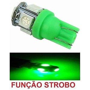 Lampada T10 Strobo E Luz 5 Led Verde W5w 12v