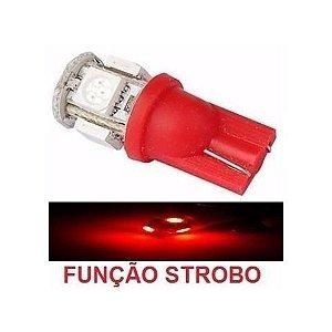 Lampada T10 Strobo E Luz 5 Led W5w Vermelho 12v