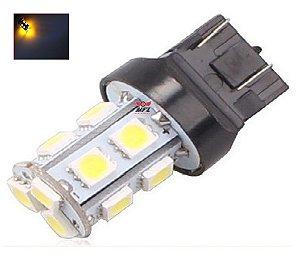 LAMPADA T20 13 LED 1 2 POLO 7440 7443 5050 W21W LARANJA 12V