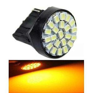 Lampada T20 22 Led 1 Polo 7440 W21w Laranja 12v