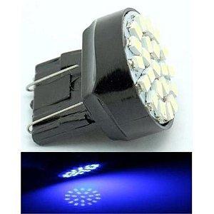 Lampada T20 22 Led 2 Polo 7443 W21w Azul 12v