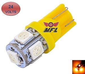 LAMPADA T10 5 LED W5W AMARELO 5050 24V