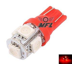LAMPADA T10 5 LED W5W VERMELHO 5050 12V