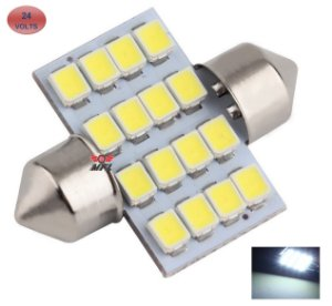 LAMPADA TORPEDO 16 LED C5W 31 MM BRANCO 24V