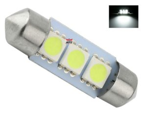 LAMPADA TORPEDO 3 LED C5W 36 MM BRANCO 12V