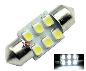 LAMPADA TORPEDO 6 LED C5W 31 MM BRANCO 12V