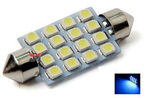 LAMPADA TORPEDO 16 LED C5W 39 MM AZUL 12V
