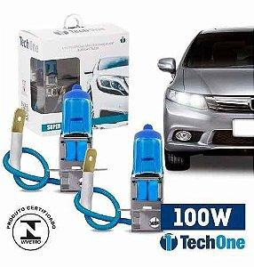 Par Lampada Super Branca H3 8500k Tipo Xenon 12v 100w Techone