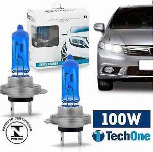 Par Lampada Super Branca H7 8500k Tipo Xenon 12v 100w Techone