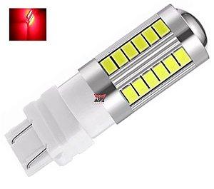 LAMPADA T25 CREE 33 LED 1 E 2 POLO 3156 3157 W27W VERMELHO 12V