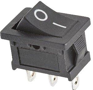 Chave Gangorra Mini 3 Terminais Preta 6A/250VAC 10A/125VAC