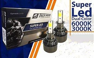 Par Lâmpadas Super Led 4X1 H8 H11 HB3 HB4 6000k 3000k 12v 24v 48w Dual Color