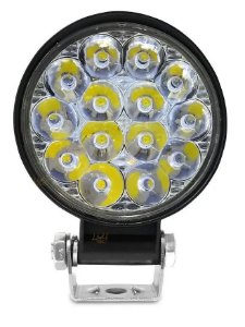 Farol Led Milha 42w Redondo Jeep Mini 12/24v Off Road 6000k