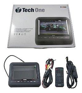 """Tela Encosto De Cabeça Portátil Acoplável 7"""" LCD Leitor DVD USB SD MP4 com Controle Universal Techone"""