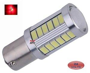 LAMPADA 33 LED CREE BAY15D 2 POLO P21/5W 1157 1034 VERMELHO 24V