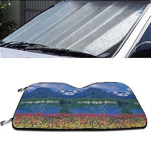 Protetor Solar Para-brisa Quebra Sol Dobrável Universal Estampa Montanha com Suporte Ventosa