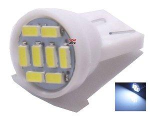 LAMPADA T10 8 LED W5W 3014 BRANCO 12V