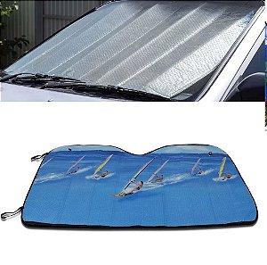 Protetor Solar Para-brisa Quebra Sol Dobrável Universal Estampa Wind Surf com Suporte Ventosa