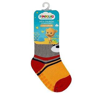 Meia Infantil Colorida Com Antiderrapante Cinza Urso 21-25 - Pimpolho