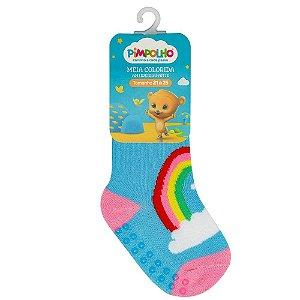 Meia Infantil Colorida Com Antiderrapante Azul Arco-íris 21-25 - Pimpolho
