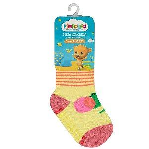 Meia Infantil Colorida Com Antiderrapante Amarelo Jacaré 21-25 - Pimpolho