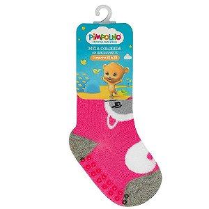Meia Infantil Colorida Com Antiderrapante Rosa Gato 21-25 - Pimpolho