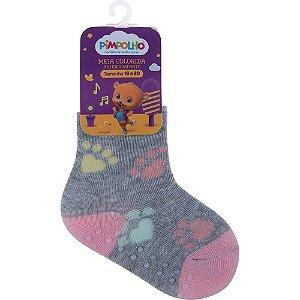 Meia Infantil Colorida Com Antiderrapante Cinza Pegadas 16-20 - Pimpolho
