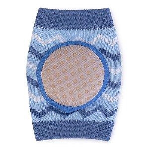 Kit Joelheiras Soft Com Antiderrapante Azul Chevron - Pimpolho