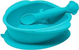 Tigela de Silicone Com Ventosa e Colher Cachorrinho (Permite Freezer e Microondas) - Girotondo Baby