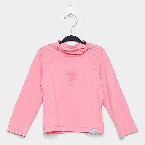 Camiseta de Banho Com FPS 50+ Manga Longa Rosê - Ecoeplay