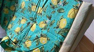 Tapete Piquenique Impermeável e Acolchoado Limões e Flores - Colo de Mãe