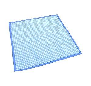 Tapete Piquenique Impermeável e Acolchoado Xadrez Azul - Colo de Mãe