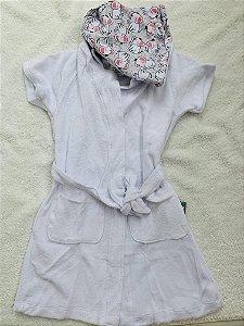 Roupão Infantil Com Capuz e Bolsos Manga Curta Branco - Colo de Mãe