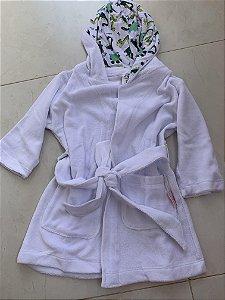 Roupão Infantil Com Capuz e Bolsos Manga Longa Branco - Colo de Mãe