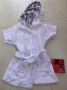 Roupão Infantil Com Capuz e Bolsos Manga Curta Branco Unicórnio - Colo de Mãe