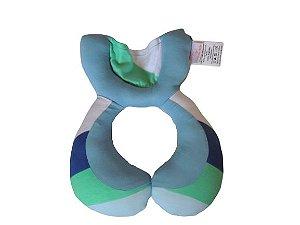 Almofada Anatômica de Pescoço Listras Azul e Verde - Colo de Mãe