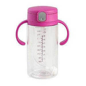 Copo Transparente Com Canudo Rosa 330 ml - Clingo