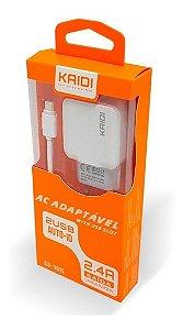 Carregador Rapido Turbo Kaidi Kd-87a 2.4a Usb + Cabo iPhone
