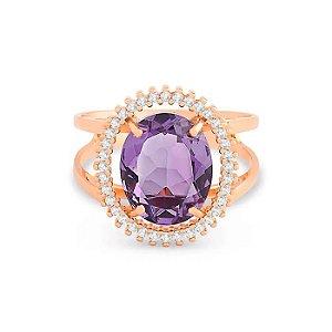 Anel Ouro Rosé Ametista e Diamantes