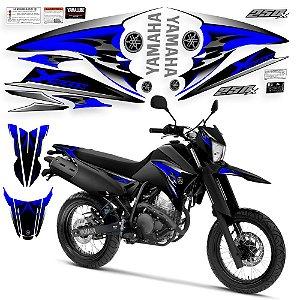 Faixa lander 250 x adesivo azul com preto + rabeta + paralama